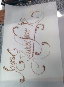 chocolat écriture artistique