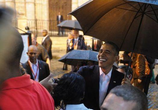 cuba obama sous pluie