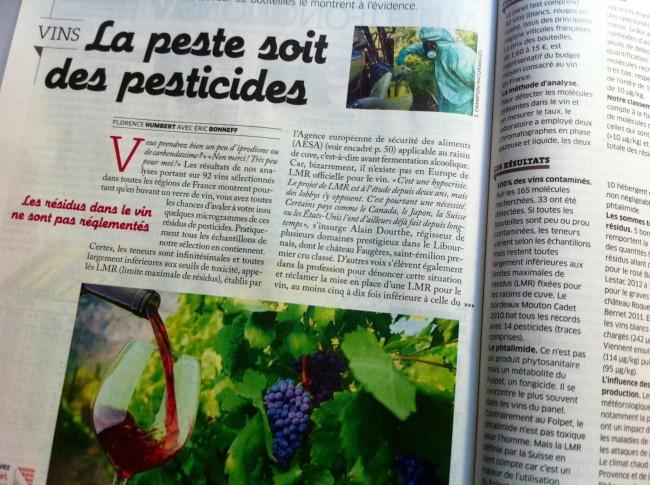 300 fois plus de résidus de pesticides dans le vin que dans l'eaupotable
