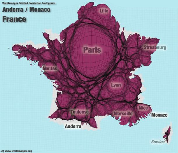 Inégalités territoriales : cartes de la France enanamorphose